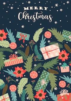 Kerstmis en gelukkig nieuwjaar illustratie. trendy retro stijl.