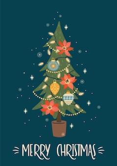 Kerstmis en gelukkig nieuwjaar illustratie van kerstboom. trendy retro stijl.