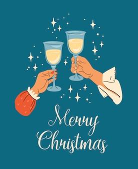 Kerstmis en gelukkig nieuwjaar illustratie van mannelijke en vrouwelijke handen met champagneglazen. trendy retro stijl.