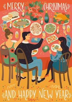 Kerstmis en gelukkig nieuwjaar illustratie van mensen aan kersttafel. feestelijke maaltijd. trendy retro stijl.