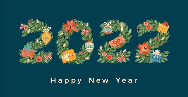 Kerstmis en gelukkig nieuwjaar illustratie