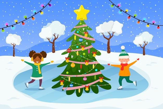 Kerstmis en gelukkig nieuwjaar illustratie.