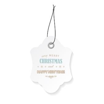Kerstmis en gelukkig nieuwjaar label label.
