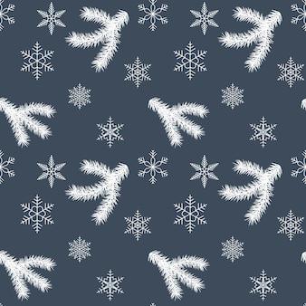 Kerstmis en gelukkig nieuwjaar naadloos patroon met boomtakken en sneeuwvlokken