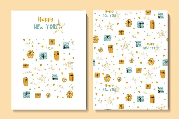 Kerstmis en gelukkig nieuwjaar naadloze patroon en kaart met leuke cadeaus