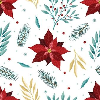 Kerstmis en gelukkig nieuwjaar naadloze patroon met kerstversiering.