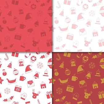 Kerstmis en gelukkig nieuwjaar patroon set. het patroon van de de wintervakantie met rode en gouden kleur.