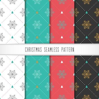 Kerstmis en gelukkig nieuwjaar patroon set. wintervakantie patroon met sneeuwvlok en boom.
