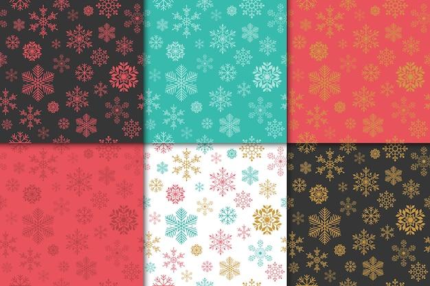 Kerstmis en gelukkig nieuwjaar patroon set. wintervakantie patroon met sneeuwvlok.