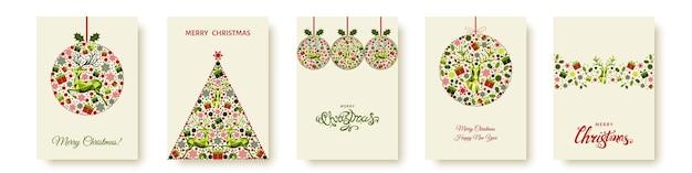 Kerstmis en gelukkig nieuwjaar patroon. veelhoekige xmas rendieren en sneeuwvlokken. rode en groene boom decoratie op lichte achtergrond. vector sjabloon voor dekking, wenskaart.