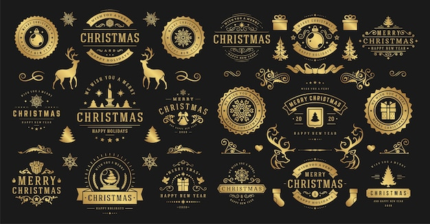 Kerstmis en gelukkig nieuwjaar wensen etiketten en insignes instellen afbeelding.