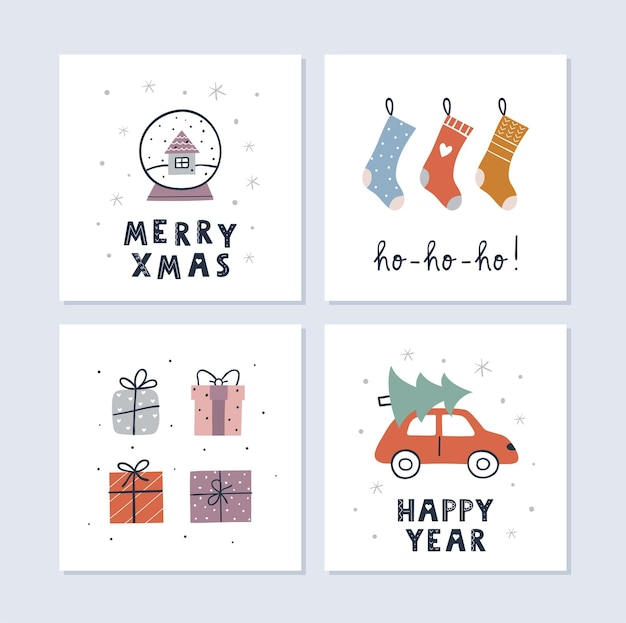 Kerstmis en gelukkig nieuwjaar wenskaarten set. kerstsokken, geschenken, sneeuwbol. leuk eenvoudig ontwerp. vector illustratie.