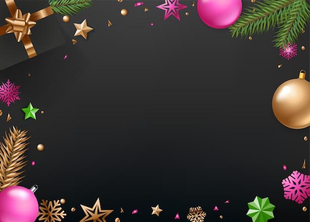 Kerstmis en gelukkig nieuwjaar wenskaartsjabloon
