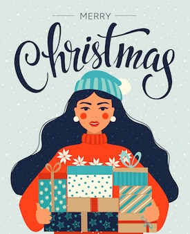 Kerstmis en gelukkig nieuwjaarskaart