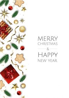 Kerstmis en gelukkige nieuwe jaarachtergrond met decoratief kader