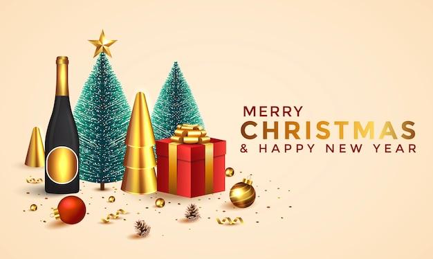 Kerstmis en nieuwjaar achtergrond. abstracte kerstmissamenstelling met kerstbomen en vakantie-elementen. heldere wintervakantie samenstelling. wenskaart, spandoek, poster. illustratie