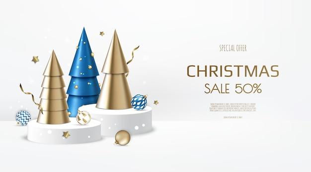 Kerstmis en nieuwjaar achtergrond. conische gouden kerstbomen. winter vakantie samenstelling. wenskaart, spandoek, poster, koptekst voor website