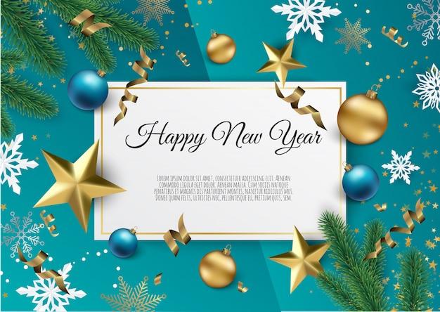 Kerstmis en nieuwjaar achtergrond met goud glitter textuur, xmas card