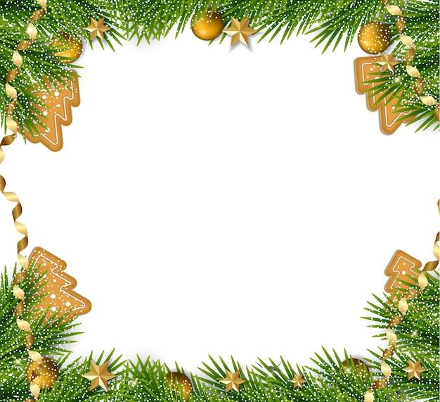 Kerstmis en nieuwjaar achtergrond met kerstboomtakken en decoraties. vakantie frame