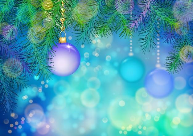 Kerstmis en nieuwjaar achtergrond met kerstboomtakken en ornamenten