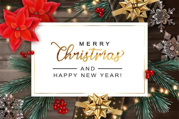 Kerstmis en nieuwjaar achtergrond met realistische geschenkdozen en decoraties