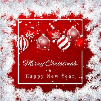 Kerstmis en nieuwjaar achtergrond met rode kerstballen, fir branch en sneeuw voor xmas