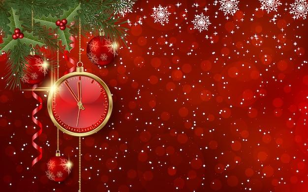 Kerstmis en nieuwjaar achtergrond met winter decor