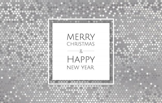 Kerstmis en nieuwjaar achtergrond met zilver glitter textuur, xmas card