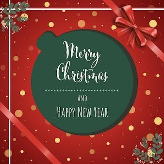 Kerstmis en nieuwjaar achtergrond wenskaart vectorillustratie