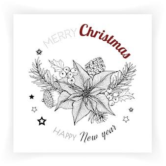 Kerstmis en nieuwjaar achtergronden en wenskaart.
