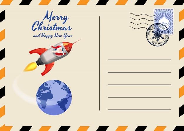 Kerstmis en nieuwjaar ansichtkaart met postzegels en mark.