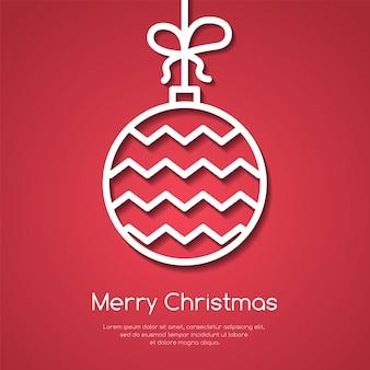 Kerstmis en nieuwjaar banner met lijn decoratieve boom bal met ornament op rode chtergro
