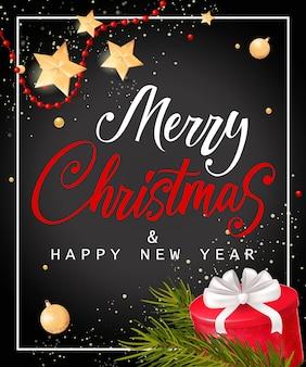 Kerstmis en nieuwjaar belettering met geschenkdoos