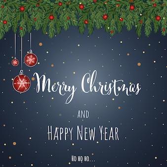 Kerstmis en nieuwjaar blauwe achtergrond wenskaart vectorillustratie