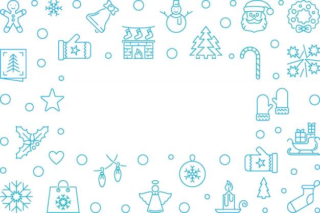 Kerstmis en nieuwjaar blauwe omtrek frame