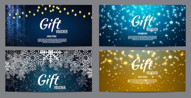 Kerstmis en nieuwjaar cadeaubon, kortingsbon sjabloon collectie instellen vectorillustratie eps10