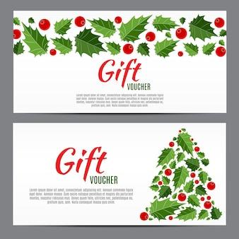 Kerstmis en nieuwjaar cadeaubon, kortingsbon sjabloon vectorillustratie eps10