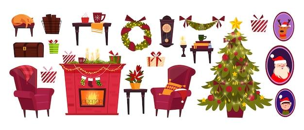 Kerstmis en nieuwjaar collectie met vakantie-objecten in cartoon-stijl