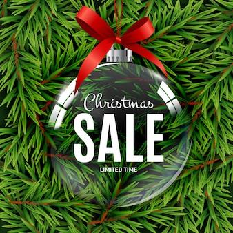 Kerstmis en nieuwjaar de giftbon van de verkoop, het malplaatje vectorillustratie van de kortingscoupon