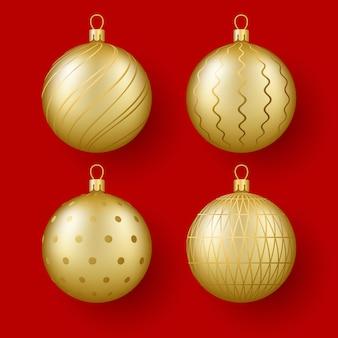Kerstmis en nieuwjaar decor set van gouden glazen bollen met een ornament 3d-realistische illustratie