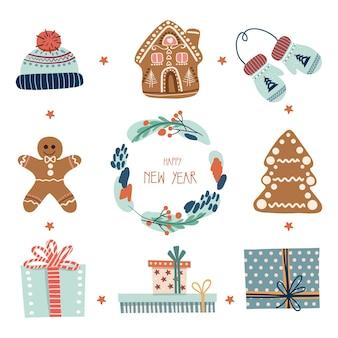 Kerstmis en nieuwjaar elementen illustratie van peperkoek koekjes geschenken krans hoed handschoenen