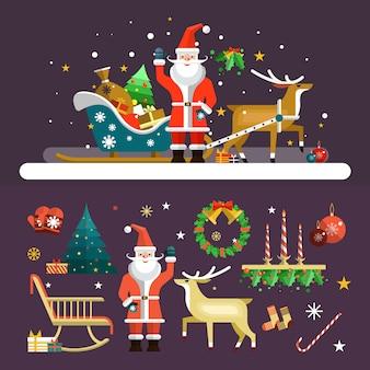 Kerstmis en nieuwjaar elementen vector in vlakke stijl. santa claus, herten en kerstboom elementen.