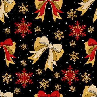 Kerstmis en nieuwjaar feestelijk naadloos patroon voor inpakpapier of stof met verschillende elementen. modieuze vintage stijl.