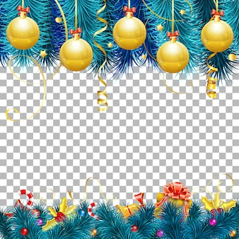 Kerstmis en nieuwjaar frame achtergrond met kerstballen, fir takken, gouden streamer, snoep, cadeau en confetti.