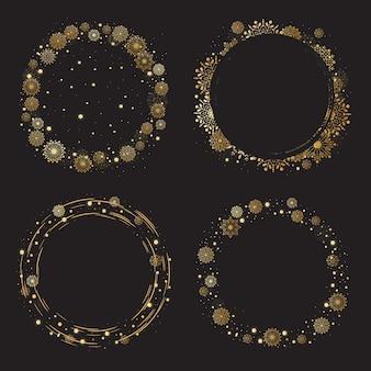 Kerstmis en nieuwjaar gouden sneeuwvlokken krans frame