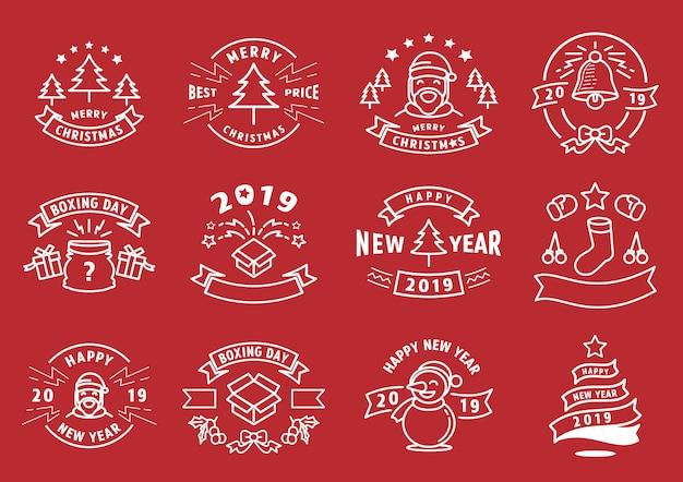Kerstmis en nieuwjaar grafisch lijnelement