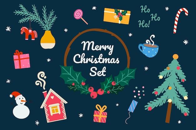 Kerstmis en nieuwjaar in doodle-stijl. peperkoekhuis, kerstboom, geschenkdozen, sneeuwpop, kopje cacao, filmklapper, snoep, zweeds dalahorse. handgetekende vectorillustratie. plat ontwerp.
