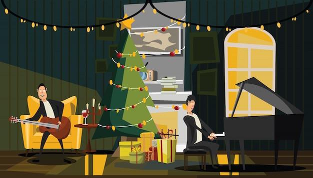 Kerstmis en nieuwjaar in woonkamer vectorillustratie