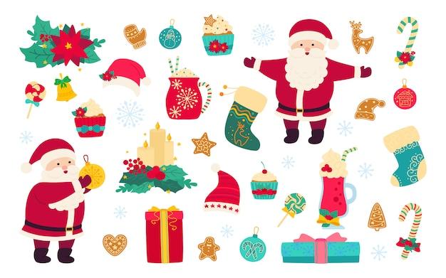 Kerstmis en nieuwjaar ingesteld. hulst, cupcake, beker, hoed, kerstman en koekjes cadeau, lolly kaars, maretak. platte cartoon design. nieuwjaar, kerst objecten collectie. geïsoleerde illustratie