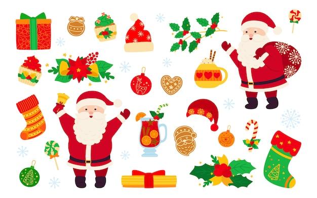 Kerstmis en nieuwjaar ingesteld. hulst cupcake, bel, beker, hoed, kerstman en koekjes cadeau, glühwein. platte cartoon designelementen. nieuwjaar, kerst objecten collectie. geïsoleerde illustratie